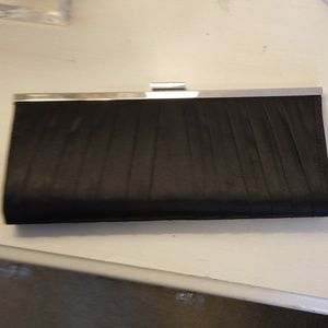 Black satin dress clutch